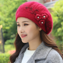 Beret Women Winter knit Hat Angora Warm Flower Soft Double Layers Thermal Snow Outdoor Accessory