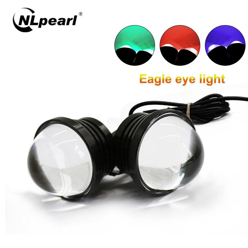 Nlpearl 2x Car Light Assembly Car LED Daytime Running Light 12V Fog Light Reverse Light LED Eagle Eye White Light Backup Light