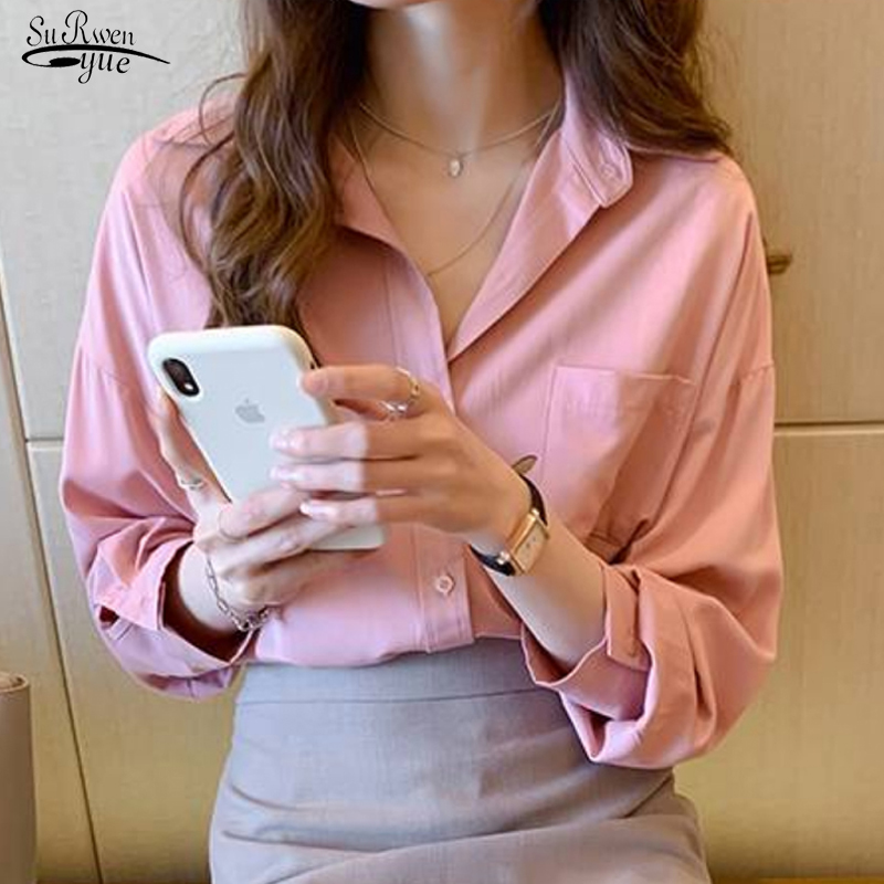 New Women's Shirt Plus Size Loose Long Sleeve Shirts Lady Classic Chiffon Blouse Simple Style Tops Clothes Female Blusas 9357 image
