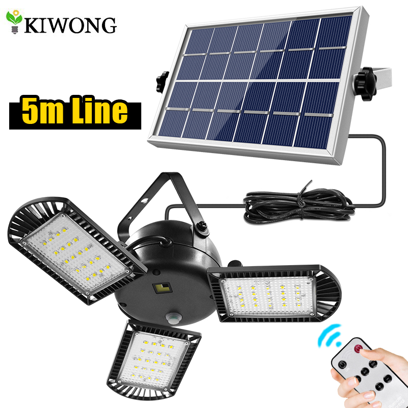 Newest 60 led Solar Light 3 Lamp Head Adjustable Lightness With Remote Control 2/4/6 Timer Outdoor Waterproof Solar Garden Lamps Solar Lamps  - AliExpress