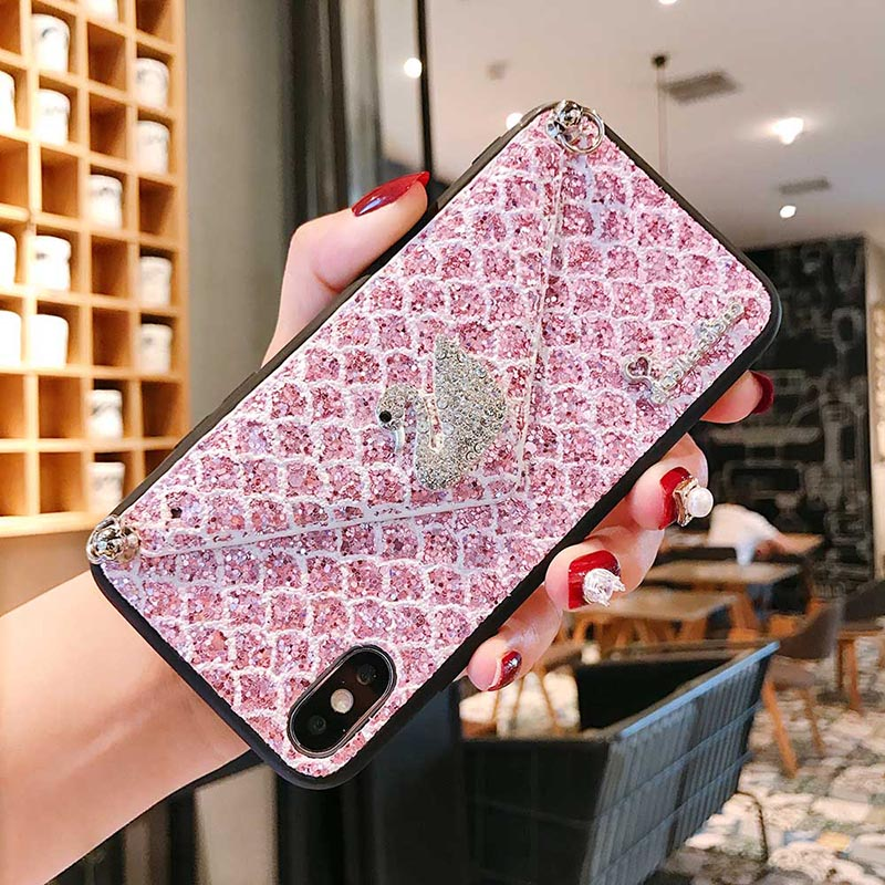 Rhinestone Swan Fake Wallet Case For iPhone 11 Pro Max For iPhone 6s 6 7 8 Plus XS Max Xr X Crossbody Jeweled Phone Case