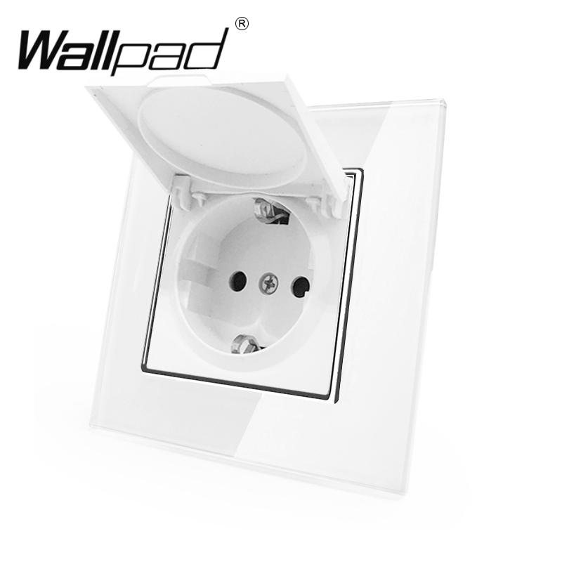 1 Gang Dust Cap Schuko Socket Wallpad White Crystal Glass Panel 110V-250V Schuko Wall Power Socket EU With Claws Hook Clips