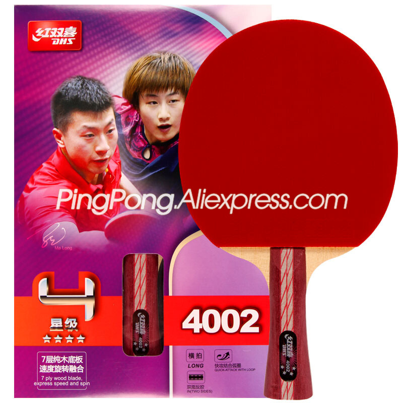DHS 4-Star Table Tennis Racket (4002, 4006) With Rubber (Hurricane 3) Original DHS Ping Pong Bat
