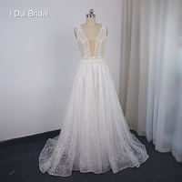 Sequin Lace Wedding Dress with Plunging Neckline Shinny Bridal Gown Factory Custom Made