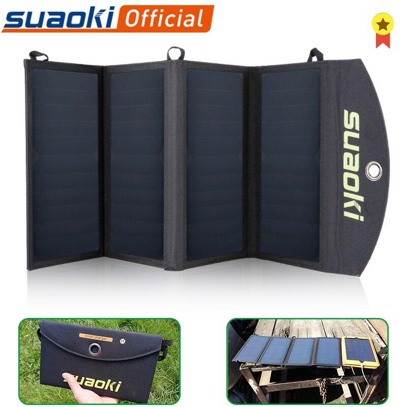 Suaoki 25w dobrável painel solar carregador de carregamento do telefone portátil porta usb dupla 5v/4a saída solar painel solar para o telefone ao ar livre