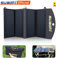 Suaoki 25W Foldable Solar Panel Charger Portable Phone Charging Dual USB Port 5V/4A Output Solar Sun Panel for Phone Outdoors