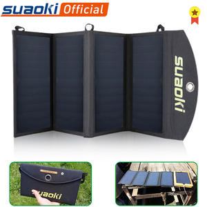 Suaoki 25W Foldable Solar Panel Charger Portable Phone Charging Dual USB Port 5V4A Output Solar Sun Panel for Phone Outdoors