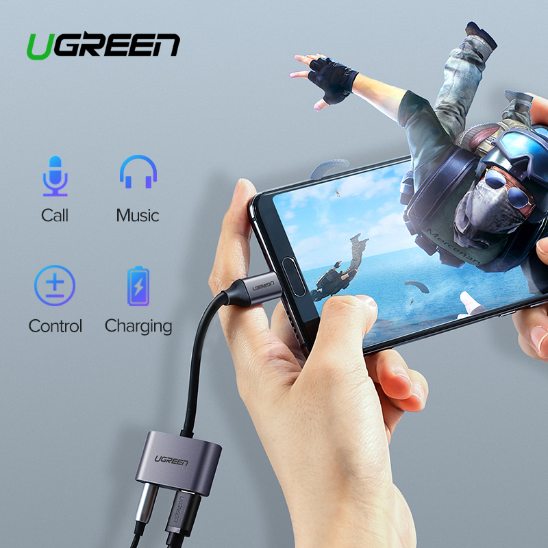 Ugreen USB C To Jack 3.5 Type C Cable Adapter USB Type C 3.5mm AUX Earphone Converter For Huawei P30 Mate 30 Pro Xiaomi Mi 8 9