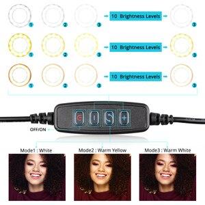 Image 3 - Travor 10 Inch Fotografische Ring Lamp Desktop Led Lamp 3 Licht Modi 3000K 5000K Dimbare Led Ring licht Voor Make Up