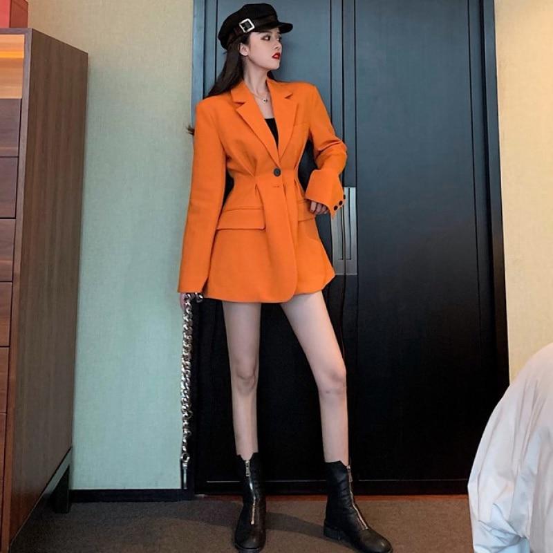 2020 Spring New Women Sweet Notched Full Sleeve Ladies Office Coat Feminino Korea Style Loose Slim Black Blazer Mujer Tops