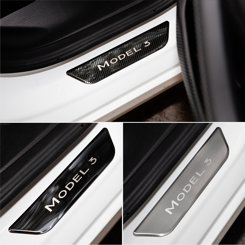 VXVB For Tesla Model 3 2021 Accessories Pedal Protection Strip Model Three Carbon Fiber Model3 Door Sill Decoration Wrap Cover