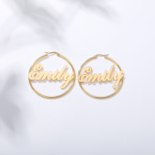 Custom Name Earrings Women Silver Gold Stainless Steel 1 Pair Personalized Big Nameplate Handmade Circle Oorbellen Party Gifts