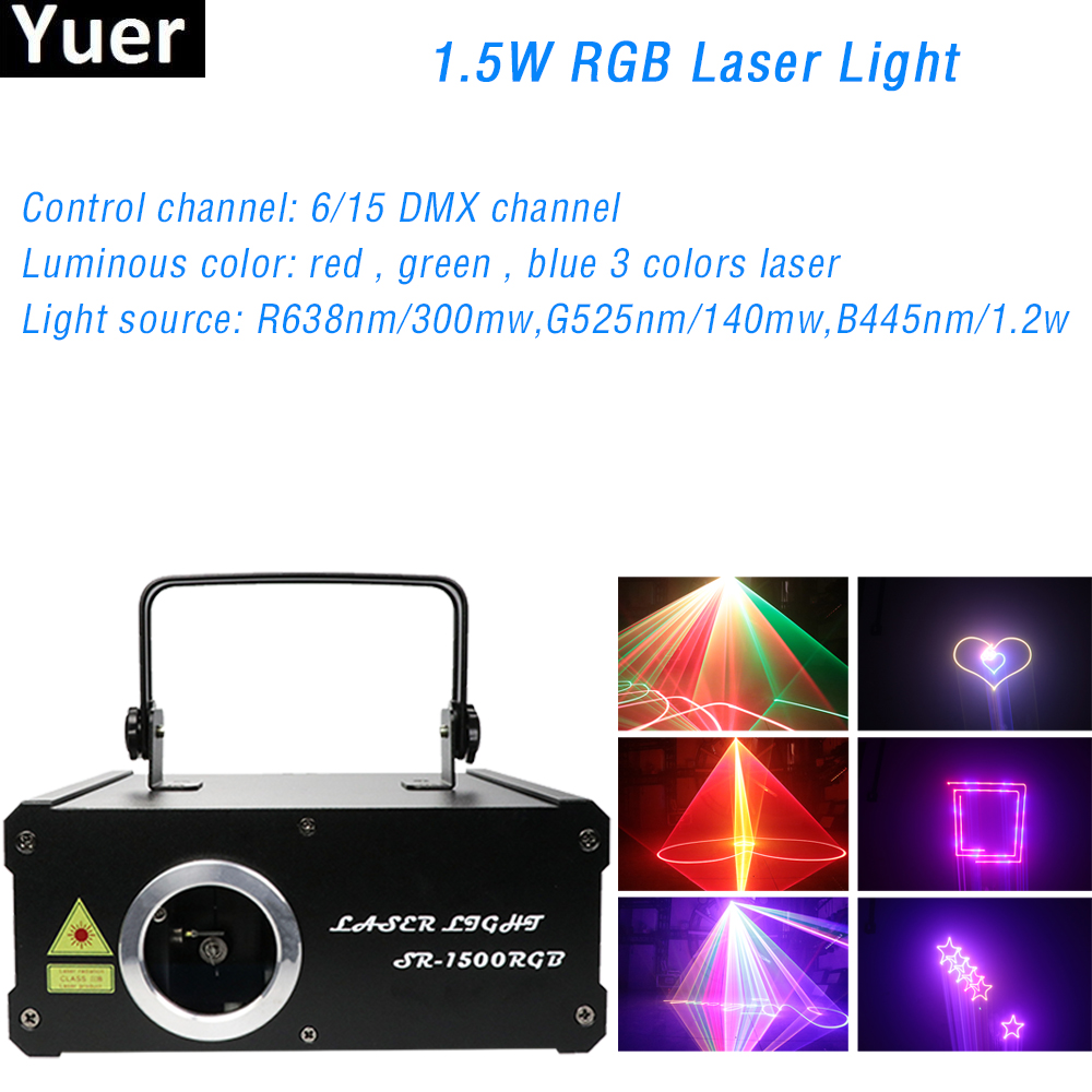 1.5W RGB Laser Light DJ Disco Light 267 Laser Effect DMX 512 Control Party Club Laser Projector Stage Laser Light Show Equipment
