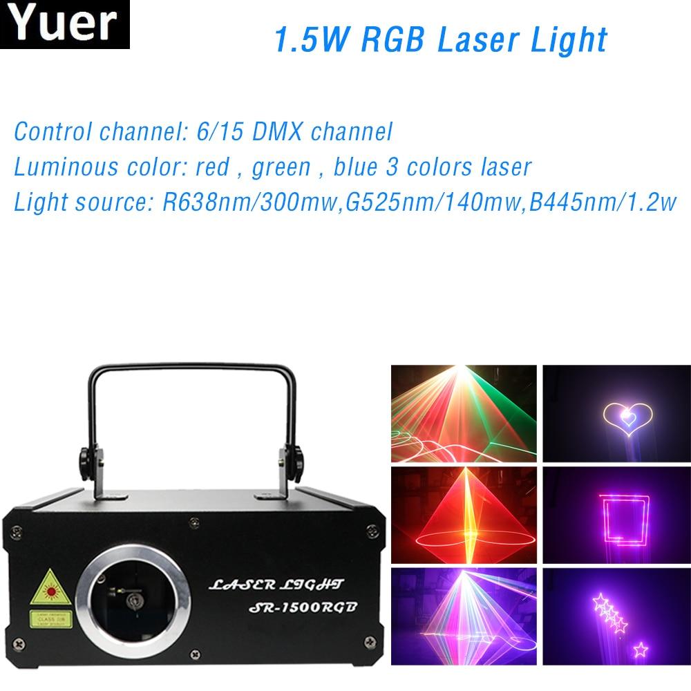 1.5W RGB Laser Light DJ Disco Light 267 Laser Effect DMX 512 Control Party Club Laser Projector Stage Laser Light Show Equipment