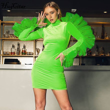 Hugcitar 2019 long sleeve lace ruffles patchwork sexy mini dress autumn winter w