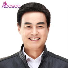 Wig Short Straight Black AOOSOO Natural-Hair Heat-Resistant Old Aged Synthetic-Fiber