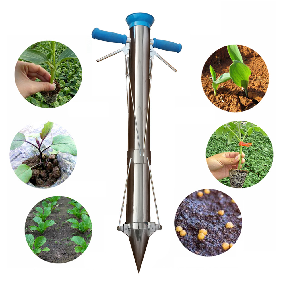 Bulb Planter Tools and Vegetable Seedling Transplanter two handles with gift Bean seeder