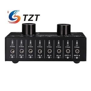 Image 5 - TZT переключатель аудиовхода, переключатель аудиовхода, переключатель сигнала, поддержка 6 в 2 OUT и 2 в 6 OUT 3,5 мм порты