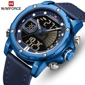 Часы наручные NAVIFORCE Мужские кварцевые, роскошные брендовые модные водонепроницаемые цифровые, с кожаным ремешком