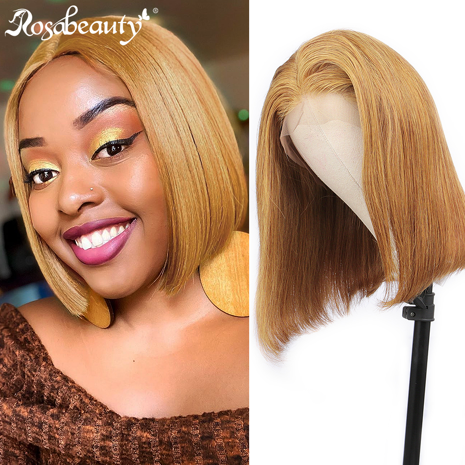 Rosabeauty Straight #27 Lace Front Human Hair Wigs 8-16 Inch Glueless Bob Short Frontal Wig Brazilan Pre Plucked For Black Women