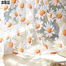 ZISIZ cortinas de tul modernas para sala de estar dormitorio cocina cortinas transparentes amarillo Floral ventana tratamiento cortina Panel
