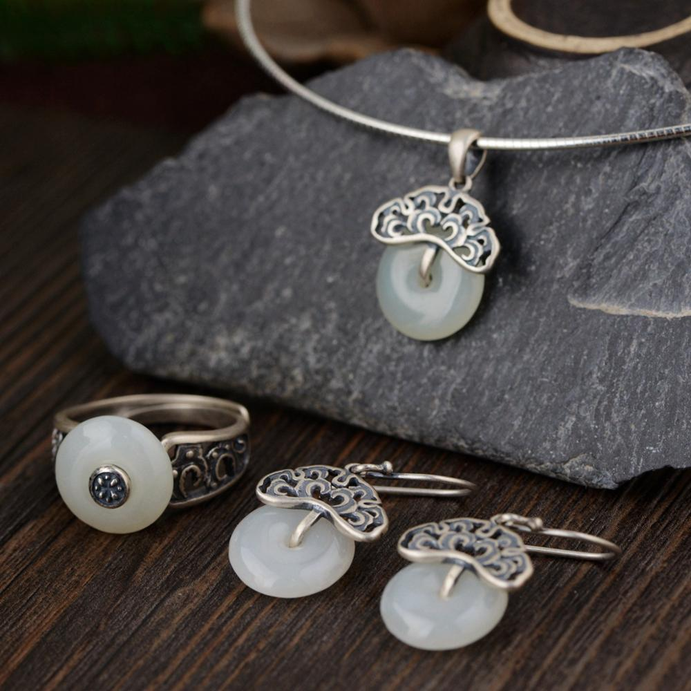 925 Sterling Silver Jade Rings For Women Natural Gemstone Pendant Flower Design Vintage Style Jewelry
