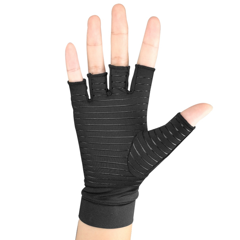 1 Pair Copper-coated Polyester Fiber+Spandex Compression Gloves Sports Half Finger Pain Relief Recovery Gloves