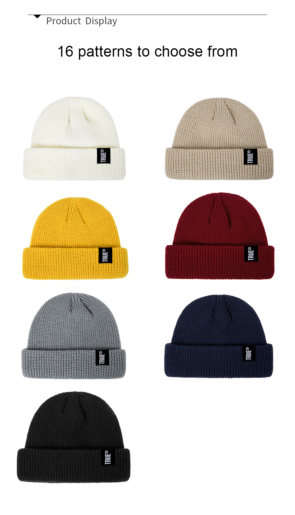 2021 Fashion Unisex Winter Hat Men Cuffed Cib Knit Hat Short Melon Ski Beanies Autumn Winter Solid Color Casual Beanie Hat 17
