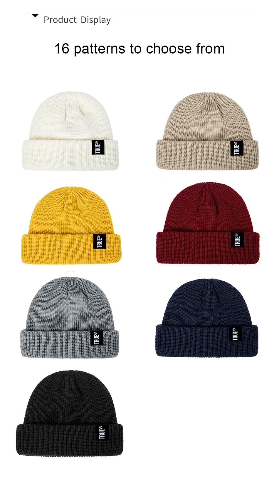 2019 Fashion Unisex Winter Hat Men Cuffed Cib Knit Hat Short Melon Ski Beanies Autumn Winter Solid Color Casual Beanie Hat 22