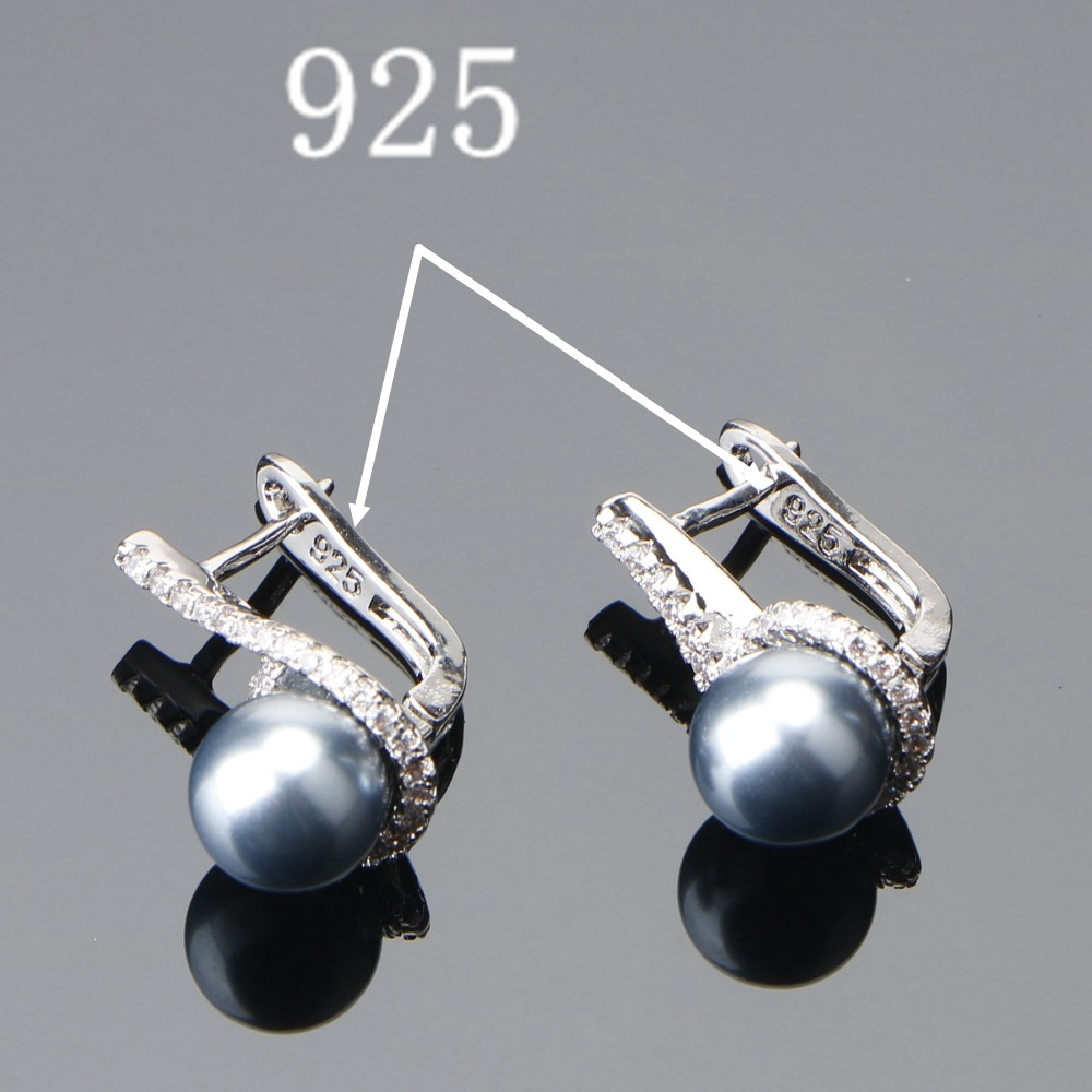 Image 5 - 925 Sterling Silver Bridal Pearl Jewelry Sets Earrings For Women Wedding Jewelry Zircon Stone Pearl Ring Pendant Necklaces SetJewelry Sets   -