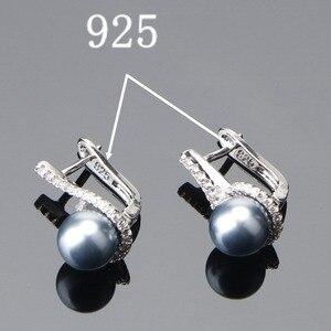 Image 5 - 925 Sterling Zilveren Bruids Parel Sieraden Sets Oorbellen Voor Vrouwen Bruiloft Sieraden Zirkoon Steen Parel Ring Hanger Kettingen Set