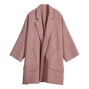 Image 5 - 2019 New Autumn and Winter Wool Jacket Women Loose Korean Cashmere Coat Mid long Woolen Coat Female NS1449