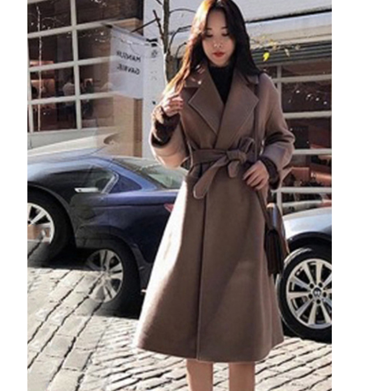 2019 New Autumn Winter Woolen Coat Women Fashion Solid Color Medium Long Woolen Coat Plus Size Casual Belted Coats Cc1152