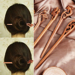 1PC Chinese Retro Style Peach Wood Carved Hairpin Handmade Hollow Out Hair Stick Hairpin Hair Styling Tools Hair Accessories