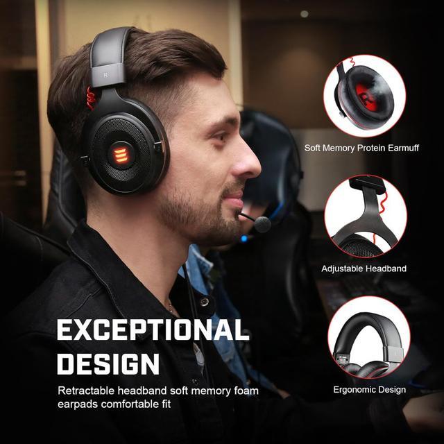 EKSA-auriculares E900 Pro para Gamer, cascos con USB 7,1/3,5mm, profesionales, con micrófono, Control de silencio, luz LED, para PC y móvil 2