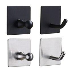 Ganchos pretos para banheiro cozinha gancho de parede de aço inoxidável gancho para chaves casaco toalha gancho robe banheiro ferragem