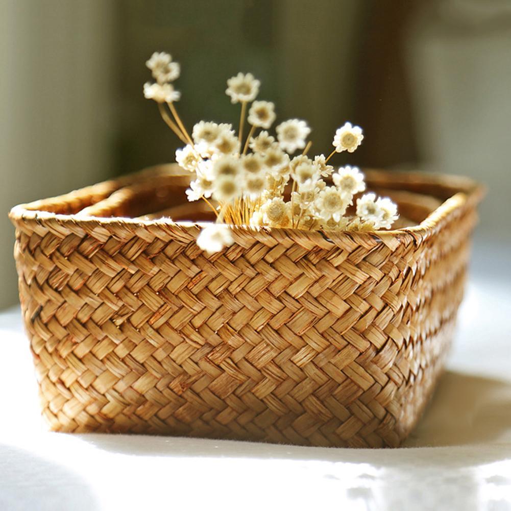 Hot Handmade Straw Dried Flower Fruit Pot Basket Rattan Box Candy Earphone Organizer