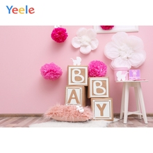 Pink Interior Scene Flowers Carpet Baby Shower Girl Portrait Photo Backdrop Customized Photographic Background For Photo Studio