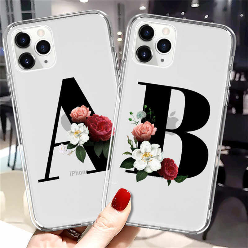 moskado DIY Name Custom Phone Case For iPhone 11 X XR XS Max Clear Flower Back Cover For iPhone 7 8 7Plus 6S 6Plus Soft TPU Case