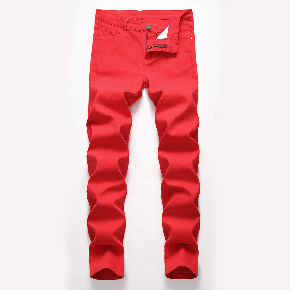 Fashion Mens Jeans Designed Straight Slim Fit Denim Jeans Trousers Casual Skinny Pants Red Yellow Mens Streetwear Pants