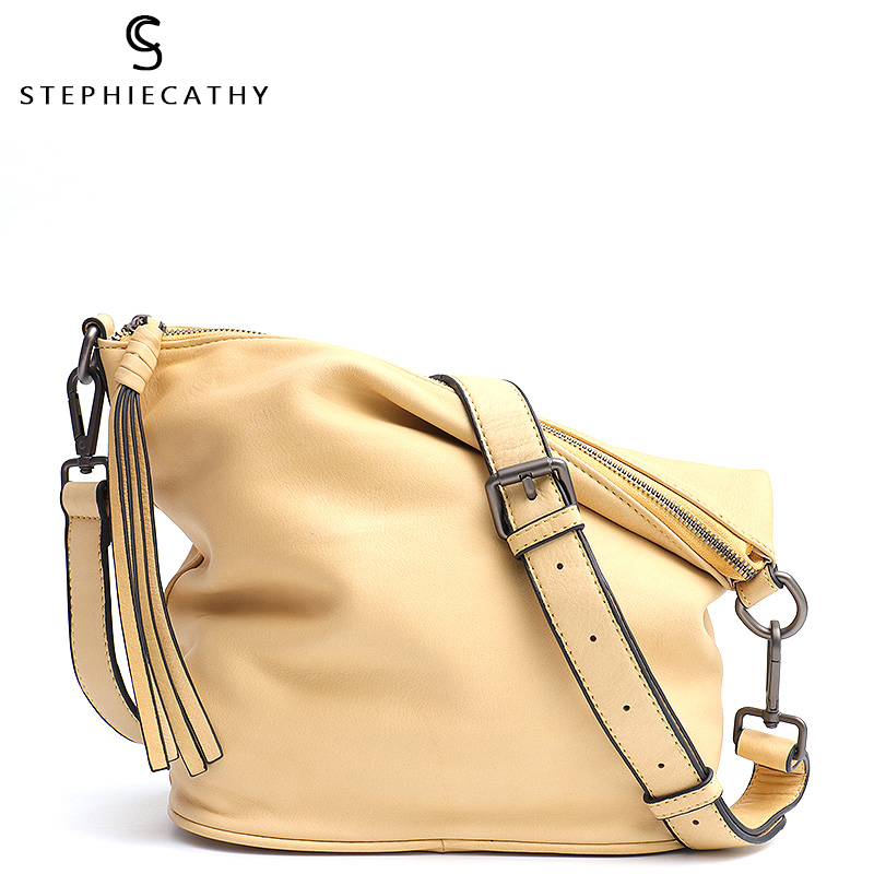 SC Fashion Macaron Color Crossbody Shoulder Bag Girl Genuine Leather Bucket Handbag Soft Leather Tassel Hobo Women Messenger Bag