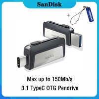 Clé USB Sandisk Type C OTG 64 128 GB clé USB 128gb 64gb 32gb 256gb clé USB 3.1 clé USB disque sur clé mémoire pour téléphone
