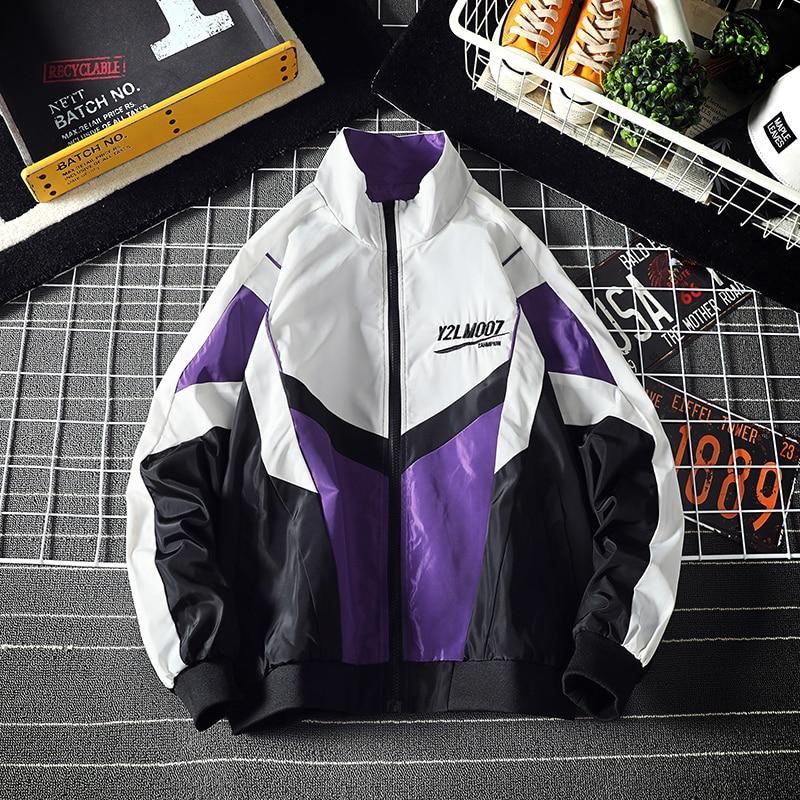 Retro Vintage Jacket Men Streetwear Windbreaker Patchwork Coat Hip Hop Casual Tracksuit College Male Spring Autumn 4XL 5XL 2020
