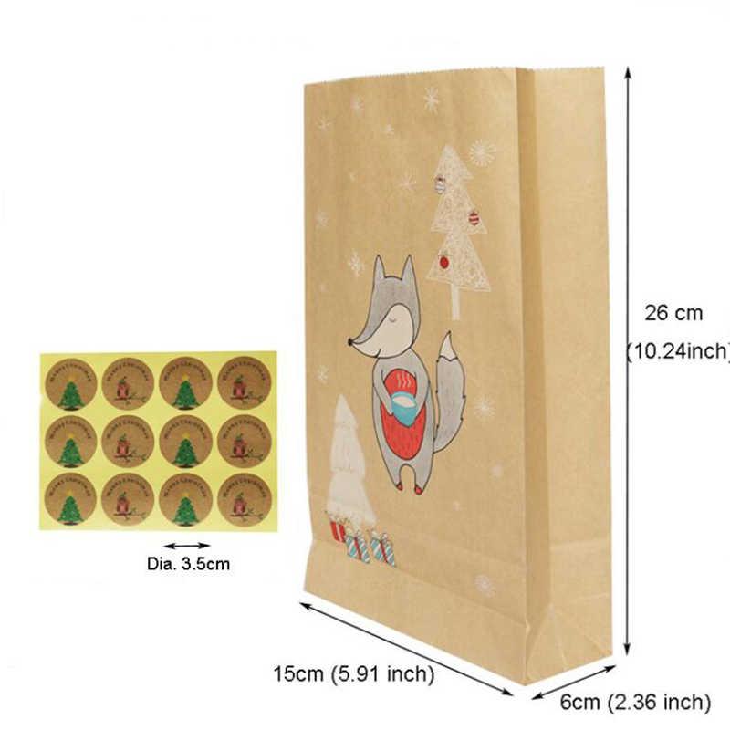 12 teile/los Kraft Papier Candy Boxen Weihnachten Geschenke Liefert Gast Cookies Verpackung Boxen Frohe Weihnachten Favor Party Dekorationen