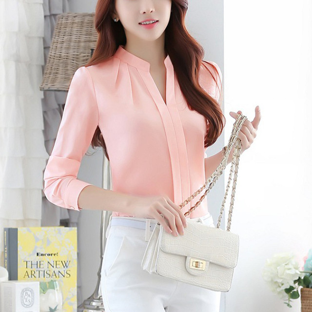 Women Brief Office Work Wear V Neck Shirts Long Sleeve Casual Tops Blouse white shirt women womens blouses and tops High quality