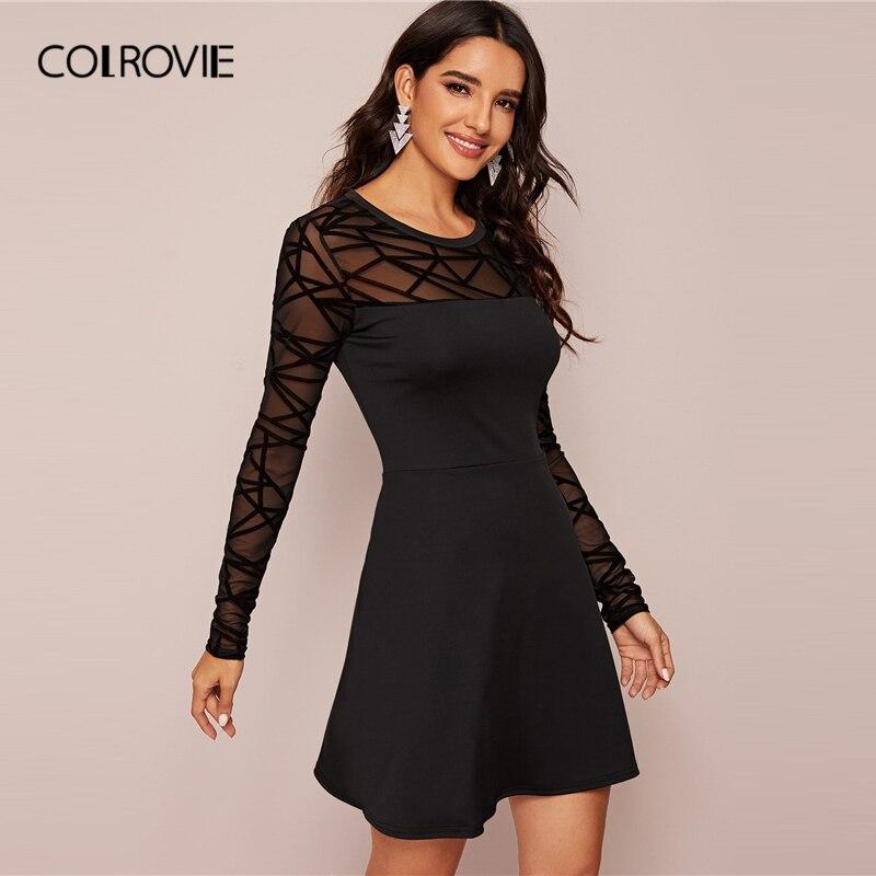 COLROVIE Black Sheer Contrast Mesh Solid Dress Women A Line Mini Dress 2020 New Spring Long Sleeve Ladies Elegant Dresses 2
