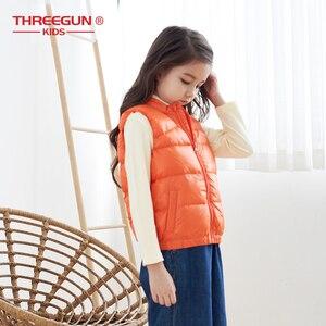 Image 2 - THREEGUN KIDS キッズガールズボーイズ子供 90% アヒルダウンジレタートルネックベスト冬の子供の幼児上着超軽量冬服