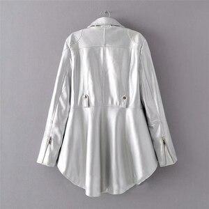 Image 4 - CHICEVER, chaqueta de piel sintética para mujer, cuello de solapa, manga larga, abrigo informal asimétrico de talla grande, abrigo informal para mujer, moda 2020, nueva ropa