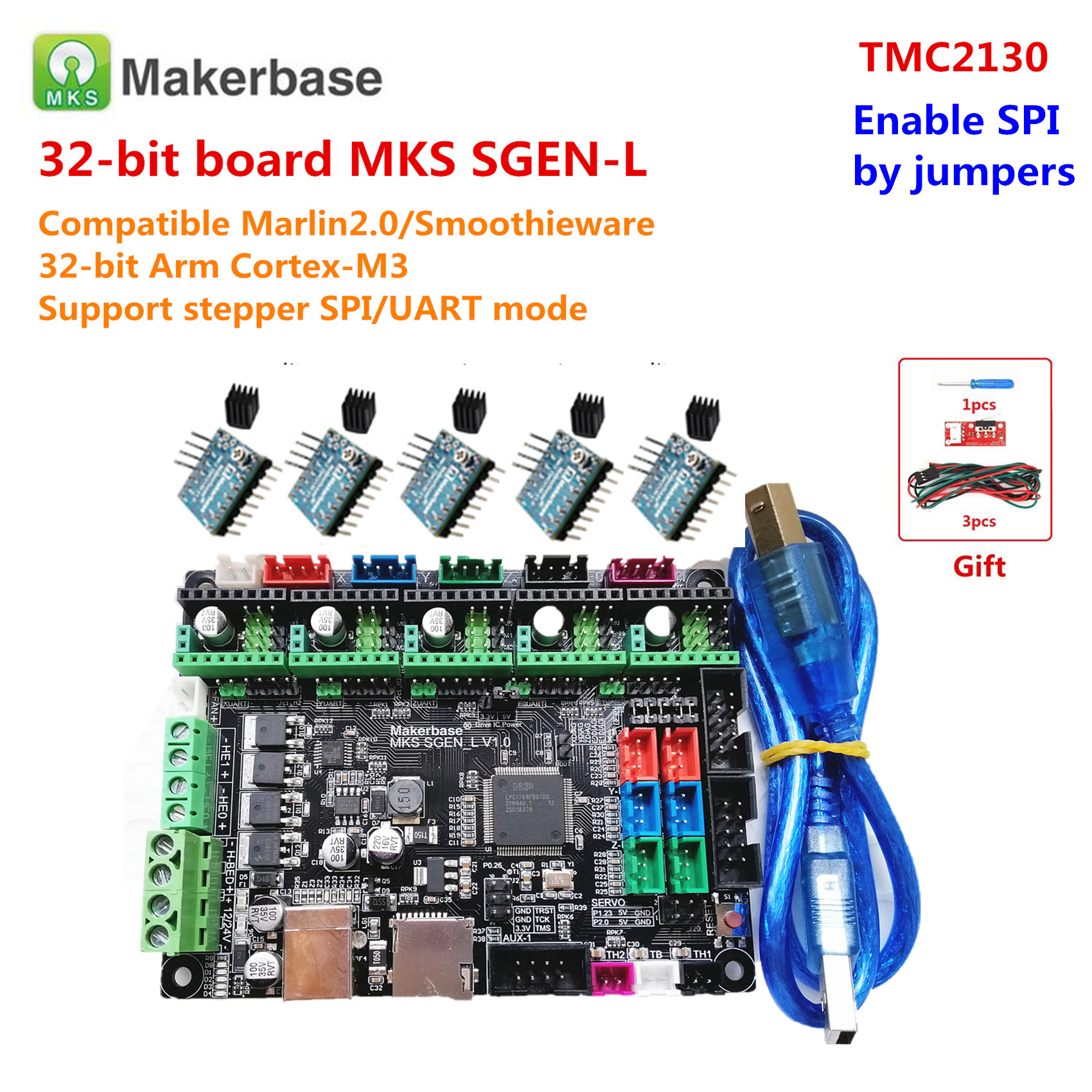 3d Printer Upgrade Motherboard MKS SGEN_L Control Panel 32 Bit Arm Cortex-M3 + Stepper Driver Parts Similar BIGTREETECH SKR V1.3
