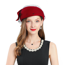 Fascinators For Women Elegant Fedoras Hat Red Church Hat Wool Bow-knot Mesh Headpiece Lady Wedding Party Formal Hair Accessories